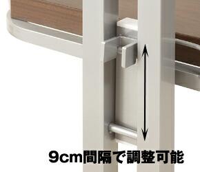 つっぱり式コーナーラック 棚板取り付け部 9cmピッチ・20段階に調整可能