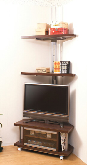 コーナーテレビボード 幅90cm+つっぱり式コーナーラック 2段