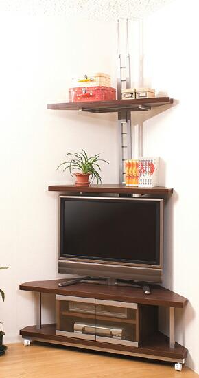 コーナーテレビボード 幅120cm+つっぱり式コーナーラック 2段