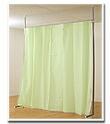 つっぱり式目隠しカーテン 清涼感のあるライトグリーン