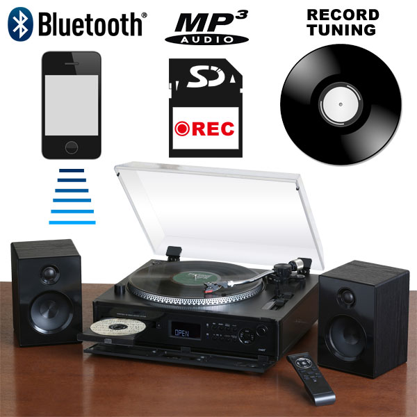 高機能ターンテーブル搭載 レコードプレーヤー デジタル録音 マルチプレーヤー CD Bluetooth対応 TCD-991EB【送料無料】