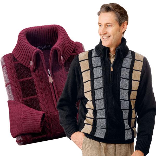 マフラー要らずの暖かセーター 2色組 ウール混 杢調 長袖 メンズ 秋冬 433006