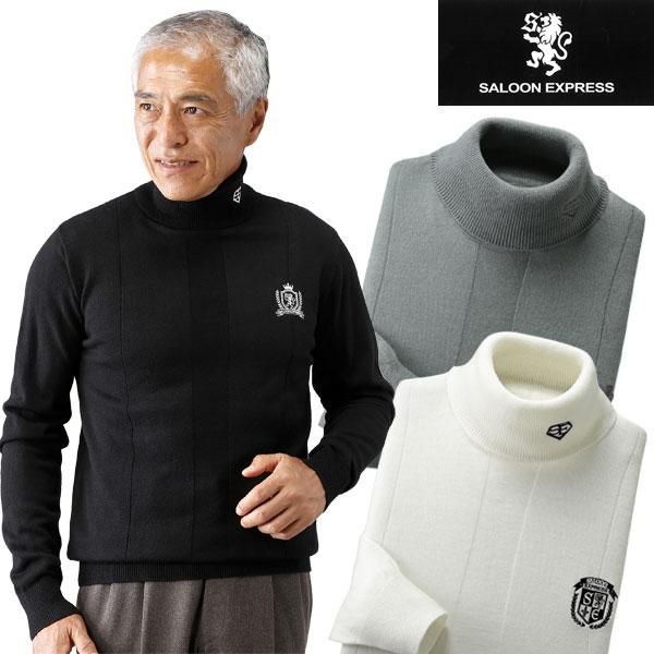 SALOON EXPRESS サルーンエクスプレス モノトーン タートルネックセーター 3色組 AO-0029-SAI メンズ ハイネック 刺繍 秋冬春