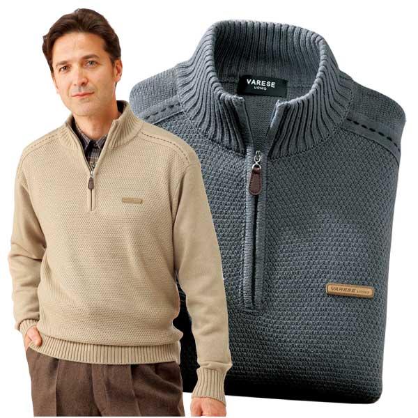 ステッチ使い ハーフジップセーター 2色組 ニット ハイネック ジップアップ メンズ 秋冬 957180