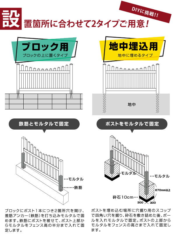 設置箇所に合わせてブロック用と地中埋込用をご用意しました