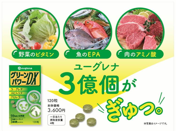 ユーグレナ グリーンパワーDX 野菜のビタミン・魚のEPA・肉のアミノ酸 ユーグレナ3億個がぎゅっ。