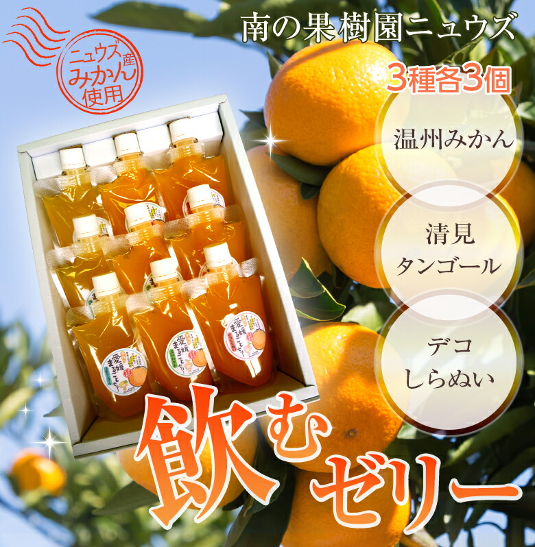 温州みかん清見タンゴールデコしらぬい3種類タイプの飲むゼリー