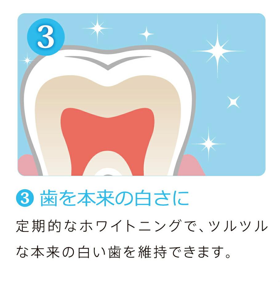 (3)歯を本来の白さに/定期的なホワイトニングで、ツルツルな本来の白い歯を維持できます。