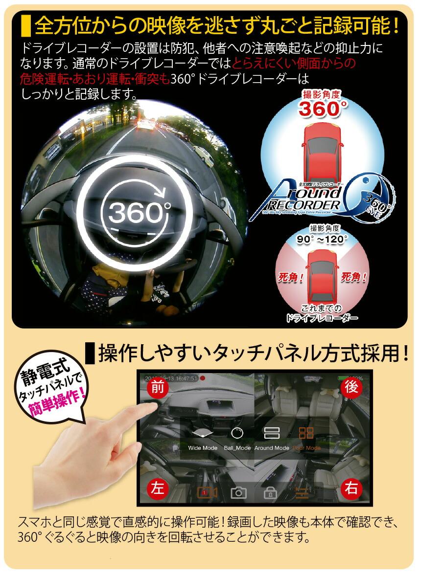 ミラー型360度ドライブレコーダー L0520