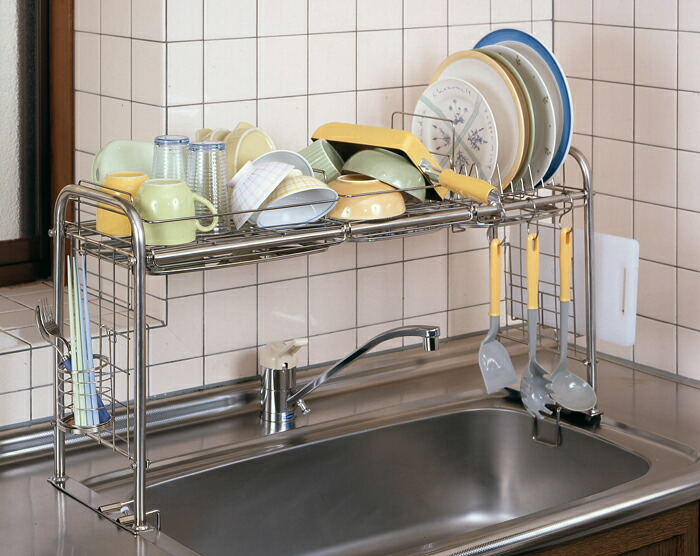 Wide rakuten global market telescopic universal kitchen and kitchen sink storage rack - Dish rack for small space collection ...