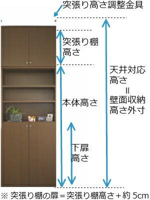 ワイド扉付きリビング壁収納