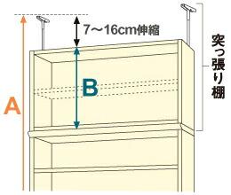 キッチン収納・キッチン収納商品 対応天井高 図
