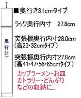キッチンキャビネットの奥行を選ぶ 奥行31cm