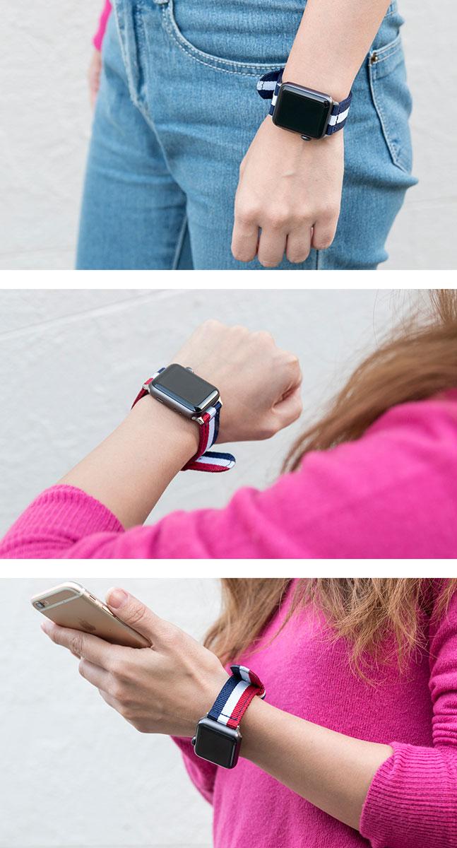 Applewatch,アップルウォッチ,バンド,ベルト,ナイロン,おしゃれ,かわいい,トリコロール,ボーダー,ストライプ,ライン,線,38mm,42mm