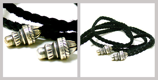 【Chrome Hearts】クロムハーツ Leather Braid Small Bolo Tips