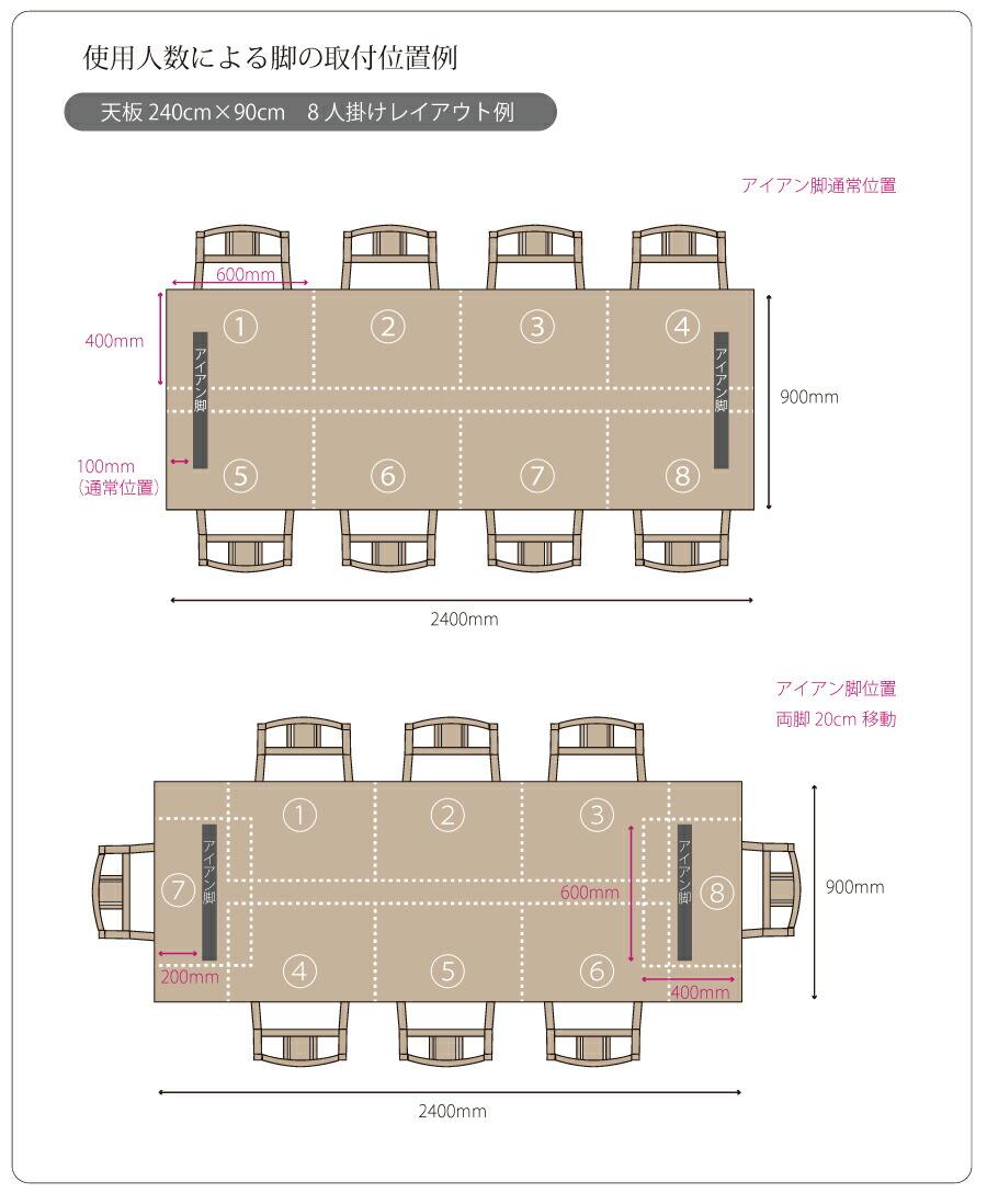 天板サイズ(幅・奥行)を1cm単位で変更.脚の取付け位置を変更できます