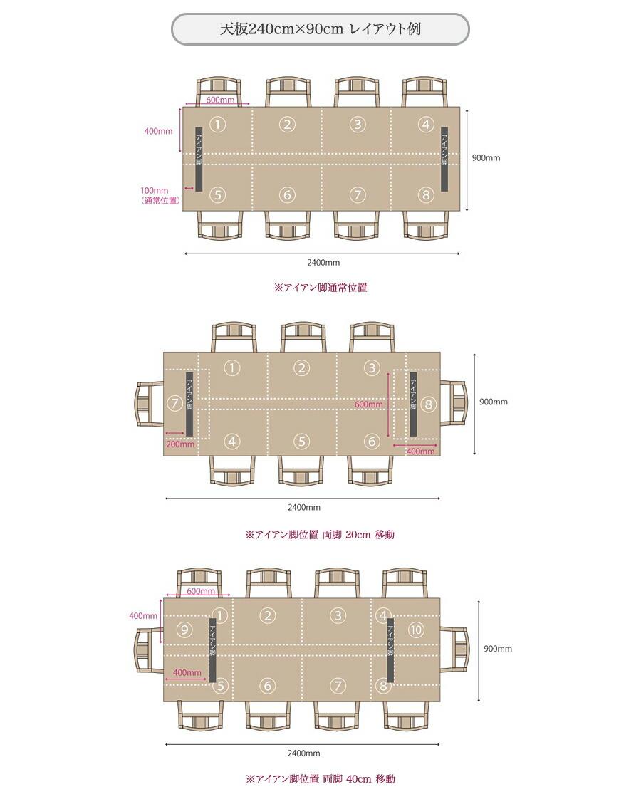 天板240cm×90cm レイアウト例