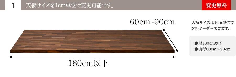 (1)天板サイズを1cm単位で変更可能です。