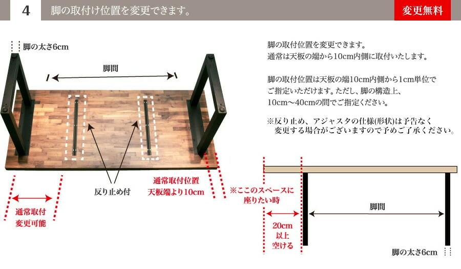 (4)脚の取付け位置を変更できます。