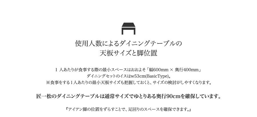 使用人数によるダイニングテーブルの天板サイズと脚位置