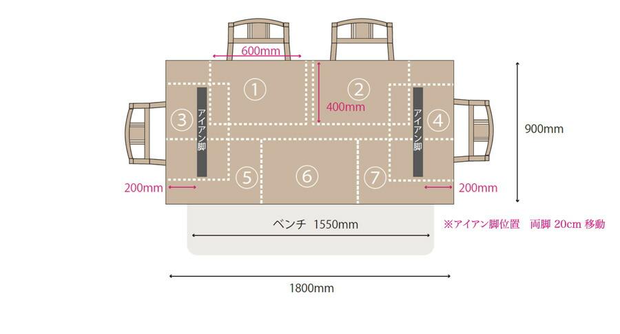 天板180cm×90cm レイアウト例