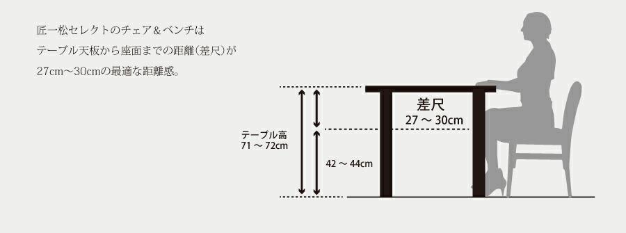 匠一松セレクトのチェア&ベンチはテーブル天板から座面までの距離(差尺)が27cm~30cmの最適な距離感。