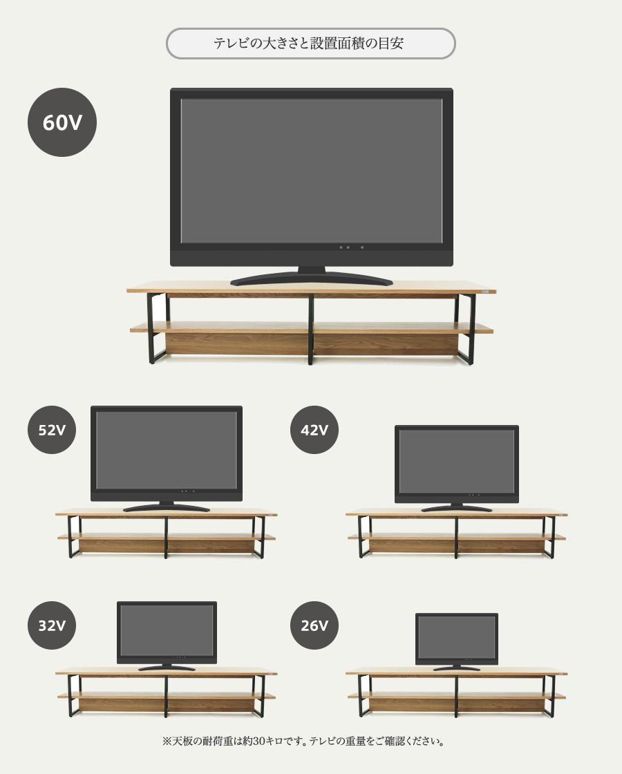 テレビの大きさと設置面積の目安 ※天板の耐荷重は約30キロです。テレビの重量をご確認ください。