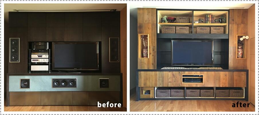 OLD ASHIBA フリー板 お客様使用例 TVボード 壁面収納 大型
