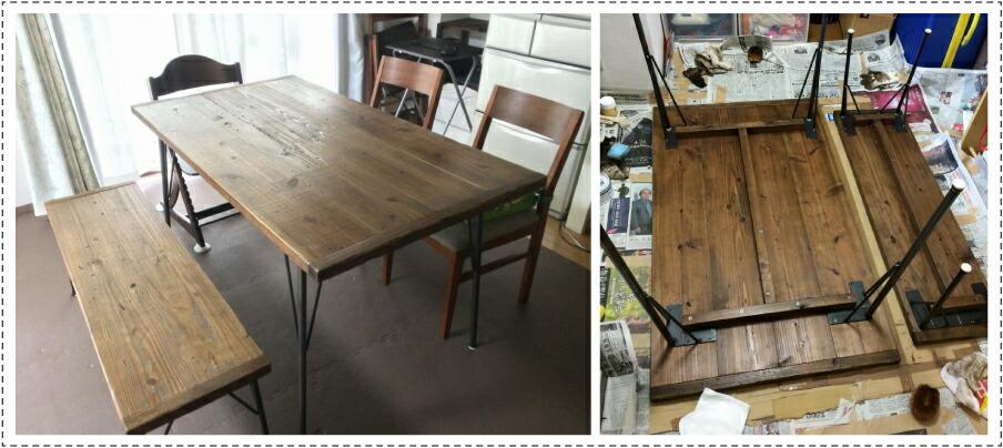 OLD ASHIBA フリー板 お客様使用例 ダイニングテーブル 鉄脚 アイアン