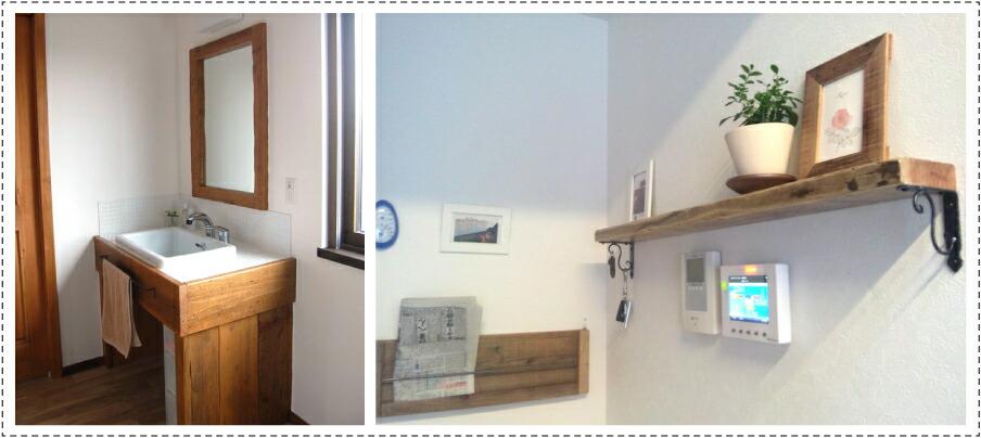 OLD ASHIBA フリー板 お客様使用例 ミラー 額 洗面台 飾り棚