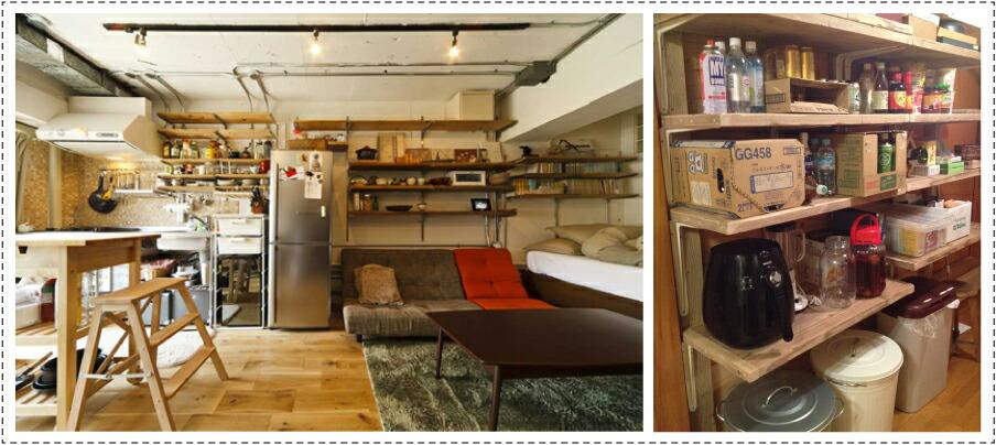OLD ASHIBA フリー板 お客様使用例 壁面収納 おしゃれ 棚 大型 リビング収納