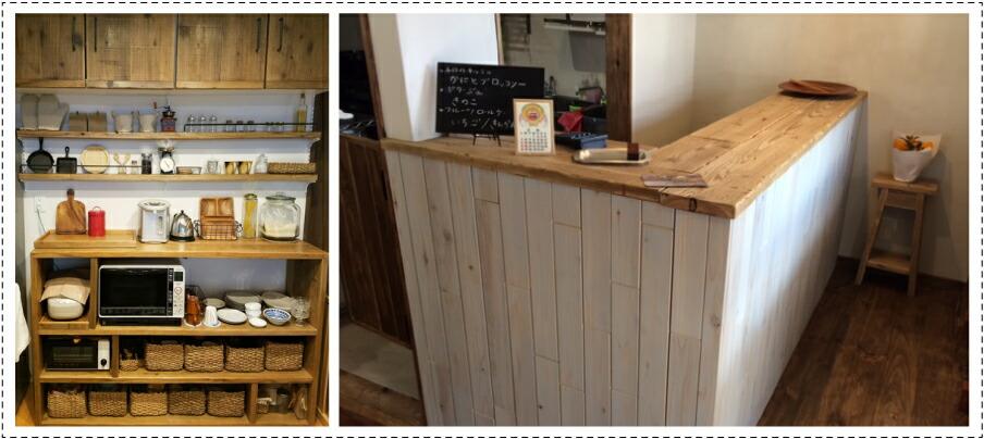 OLD ASHIBA フリー板 お客様使用例 カウンター キッチン収納 棚