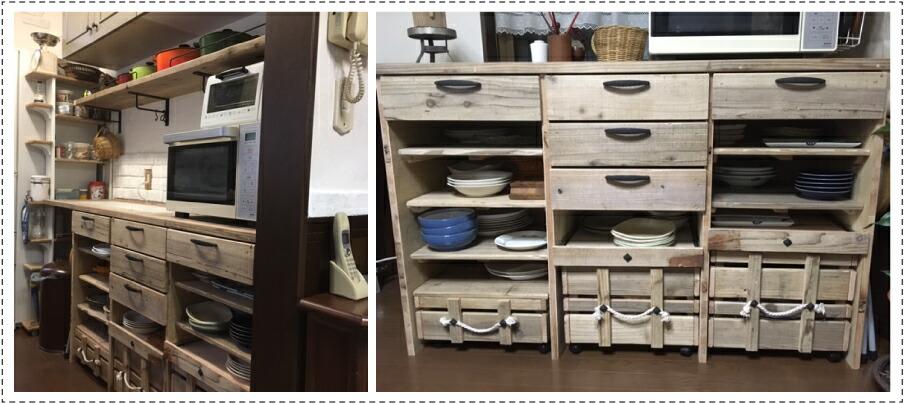 OLD ASHIBA フリー板 お客様使用例 キッチン収納