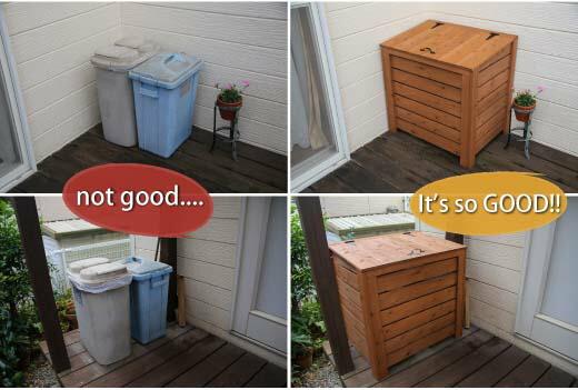 ごみ箱 ゴミ箱 カバー 木製 ダストボックス おしゃれ 目隠し ふた付 蓋付 屋外用 完成品 組立不要 コンパクト 大容量
