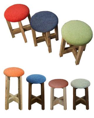 OLD ASHIBA 足場板古材 ベンチ 丸椅子 角椅子 レトロ 懐かしい 椅子 チェア クッション