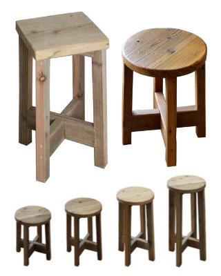 OLD ASHIBA 足場板古材 ベンチ 丸椅子 角椅子 レトロ 懐かしい 椅子 チェア