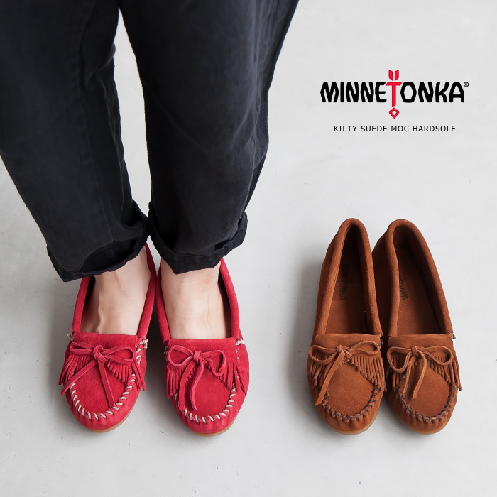 Minnetonka Women/'s Red Leather Kilty Hardsole Moccasin 406