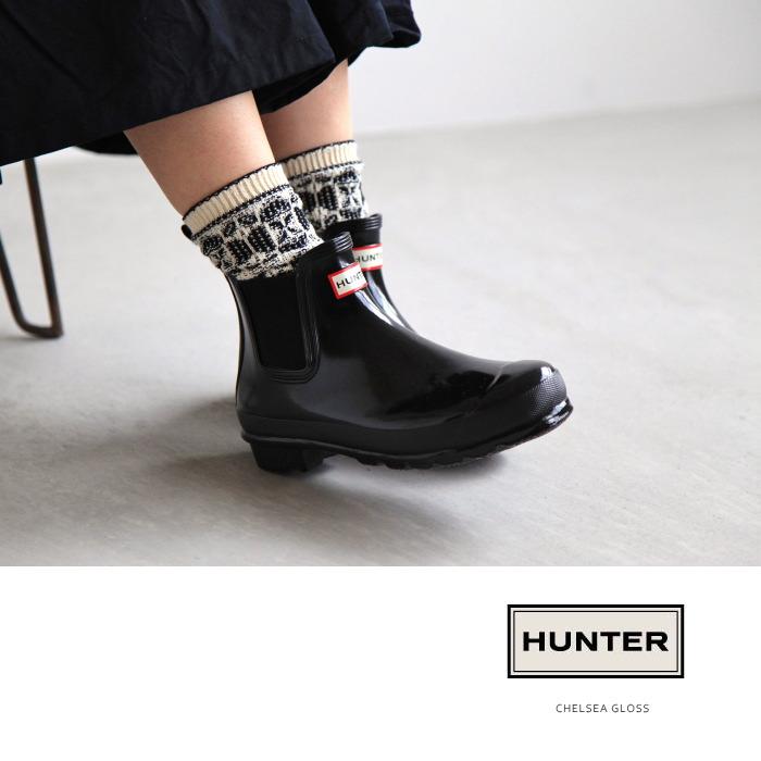[WFS1043RGL(GLOSS type)] HUNTER (hunter) HUNTER Original CHELSEA GLOSS Chelsea side Gore short rain boots Y