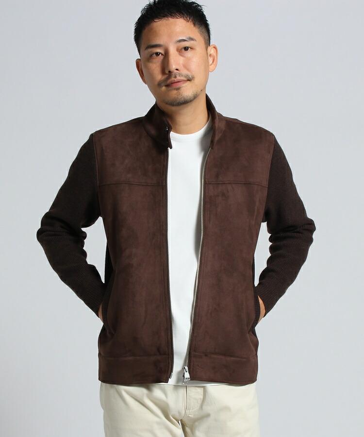TAKEO KIKUCHI(タケオキクチ)通販|ドッキングニットブルゾン [ メンズ アウター ニット ブルゾン 軽アウター 羽織 ](カーキ(027))