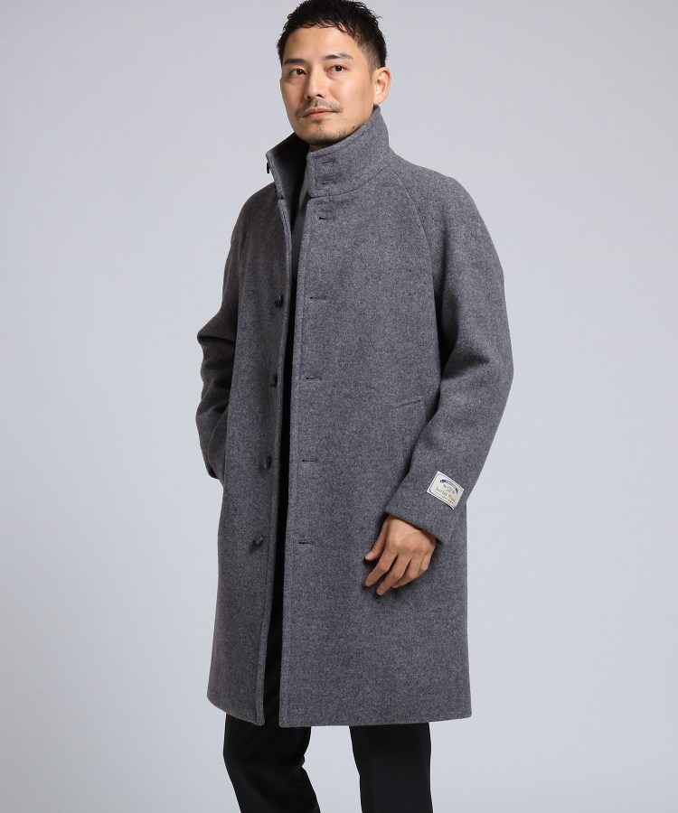 TAKEO KIKUCHI(タケオキクチ)通販 エアリーメルトンスタンドカラーコート[ メンズ コート アウター 軽量 メルトン ](チャコールグレー(014))