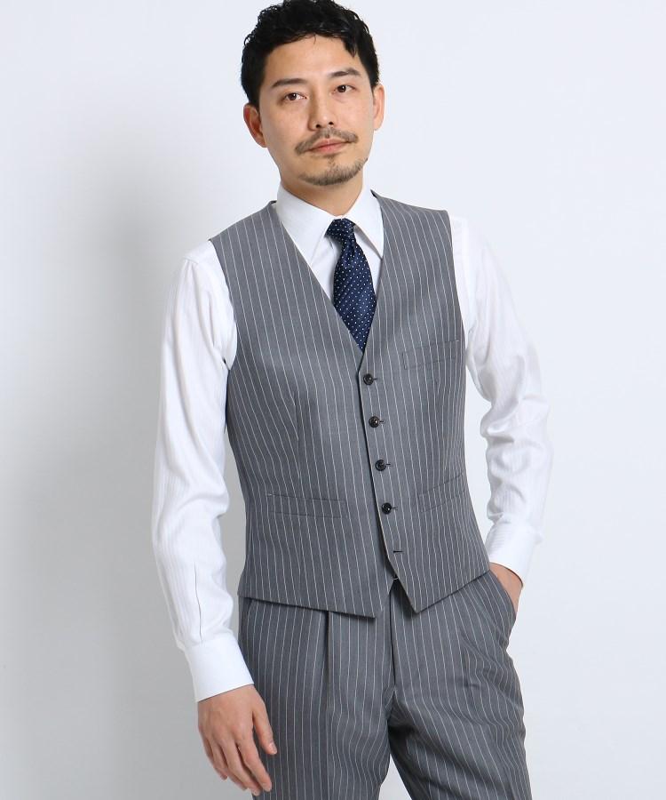 TAKEO KIKUCHI(タケオキクチ)通販|バンカーストライプベスト Fabric by Dormeuil[ メンズ スーツ ベスト 軽量 ストライプ ドーメル ](ダークグレー(313))
