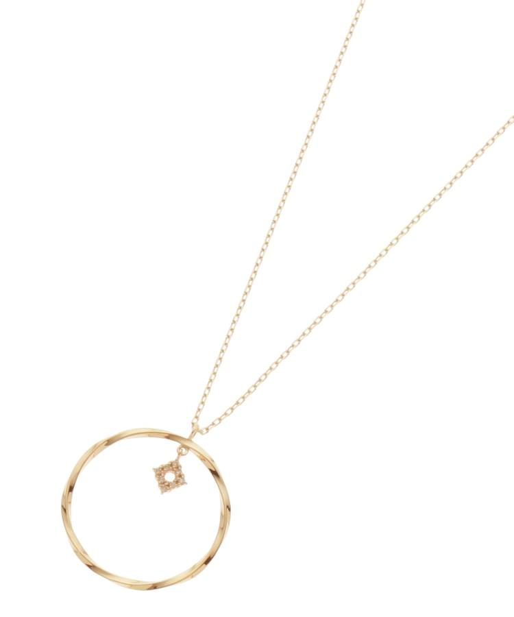 COCOSHNIK(ココシュニック)通販|ダイヤモンド ひし形 ツイストフープ ネックレス(イエローゴールド(104))