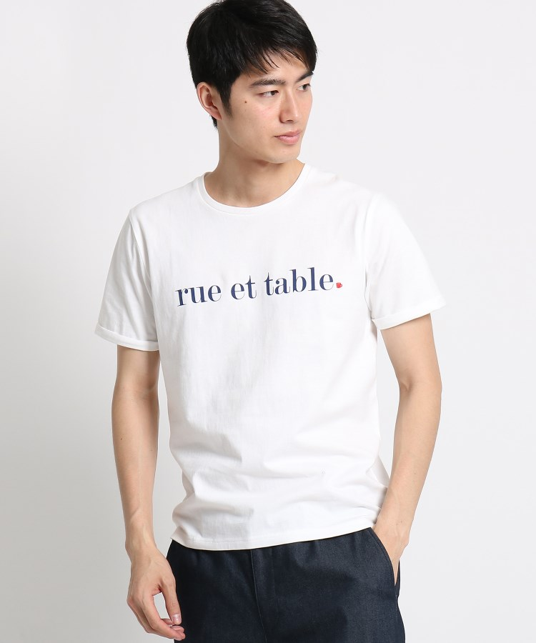 THE SHOP TK(Men)(ザ ショップ ティーケー(メンズ))通販 コットンロゴ刺しゅうTシャツ(オフホワイト(003))