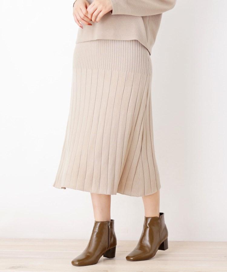 grove(グローブ)通販|【洗える/アンチピリング加工】毛玉軽減プリーツ風ニットスカート(サンドベージュ(053))