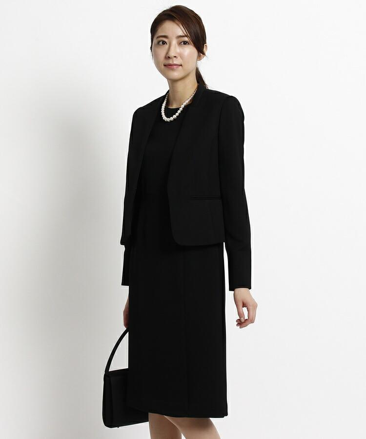 INDIVI COLOR DRESS(インディヴィ カラードレス)通販|INDIVI Vネックジャケット×ラップ風ワンピースセット(ブラック(019))