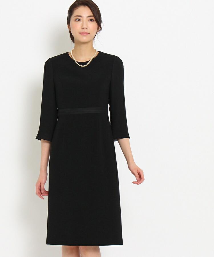INDIVI COLOR DRESS(インディヴィ カラードレス)通販|INDIVI グログラン切り替えワンピース(ブラック(019))