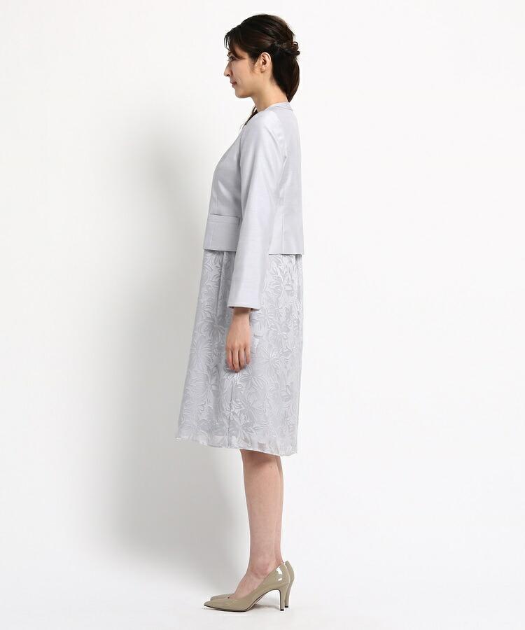 BRA14(インディヴィ カラードレス)通販|RIFANNE シャンタンワンピース+ジャケット