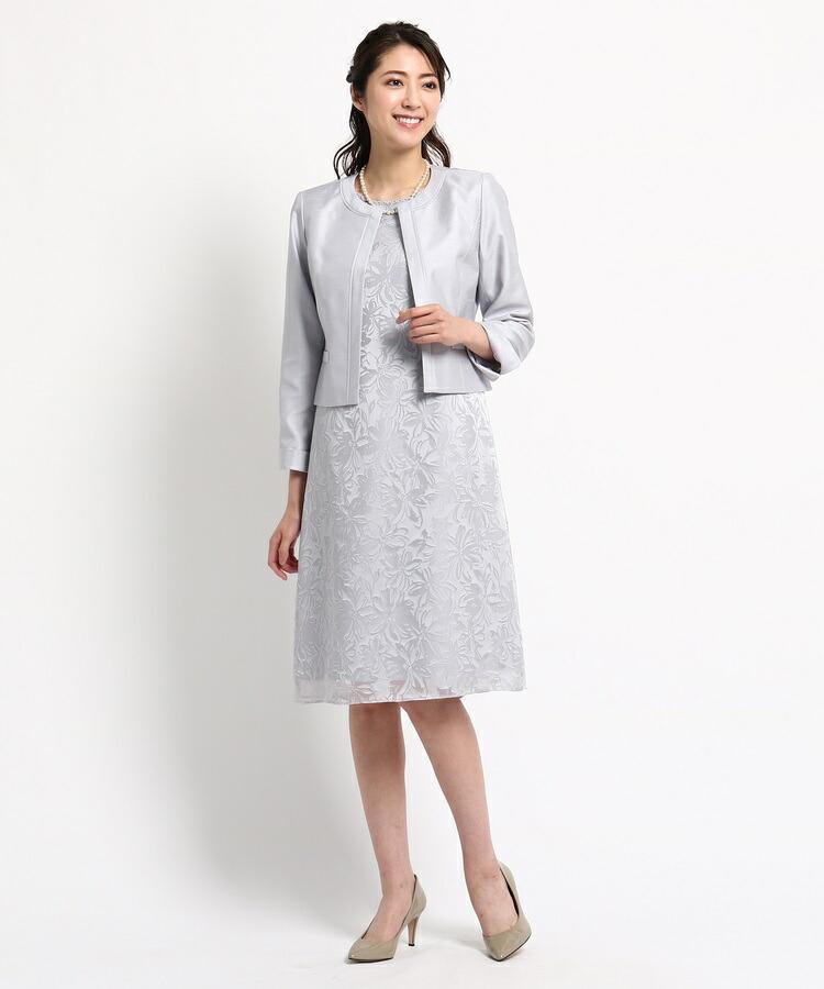 INDIVI COLOR DRESS(インディヴィ カラードレス)通販|RIFANNE シャンタンワンピース+ジャケット(ライトグレー(011))