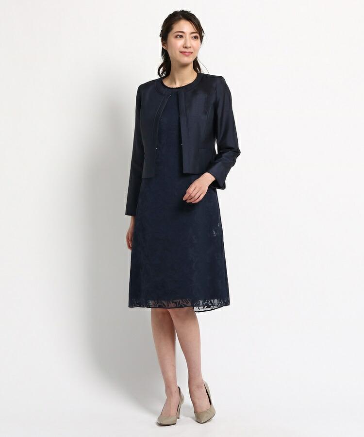 INDIVI COLOR DRESS(インディヴィ カラードレス)通販|RIFANNE シャンタンワンピース+ジャケット(ネイビー(093))