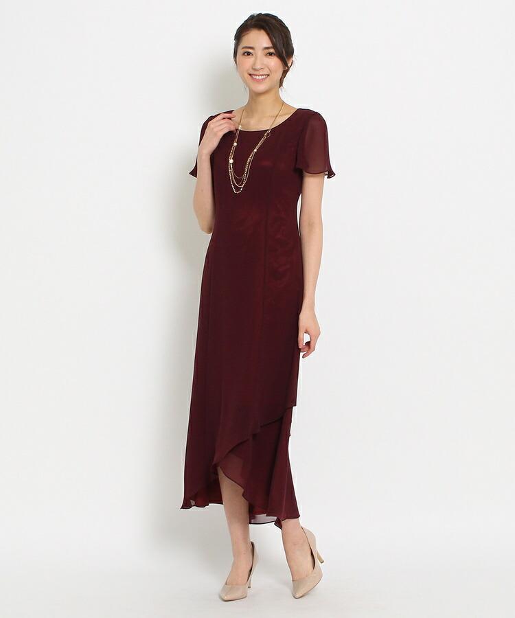 WORLD FORMAL SELECTION(ワールド フォーマル セレクション)通販|EMOTIONALL DRESSES ヘム重ねマキシワンピース(バーガンディ(063))